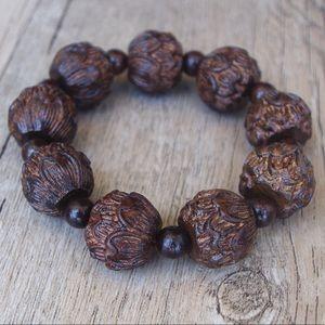 Lotus flower carved wood bracelet